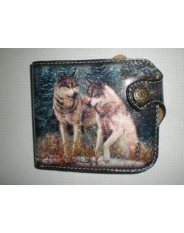 Кошелек кожаный с волками